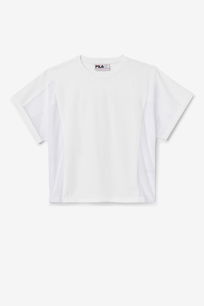 AMYTIS MESH PANEL CROP TEE/WHITE/Large