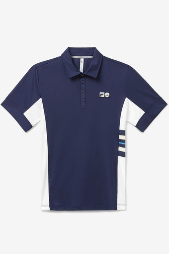 110 YEAR STRIPE POLO/NAVY/WHT/MARN/Large