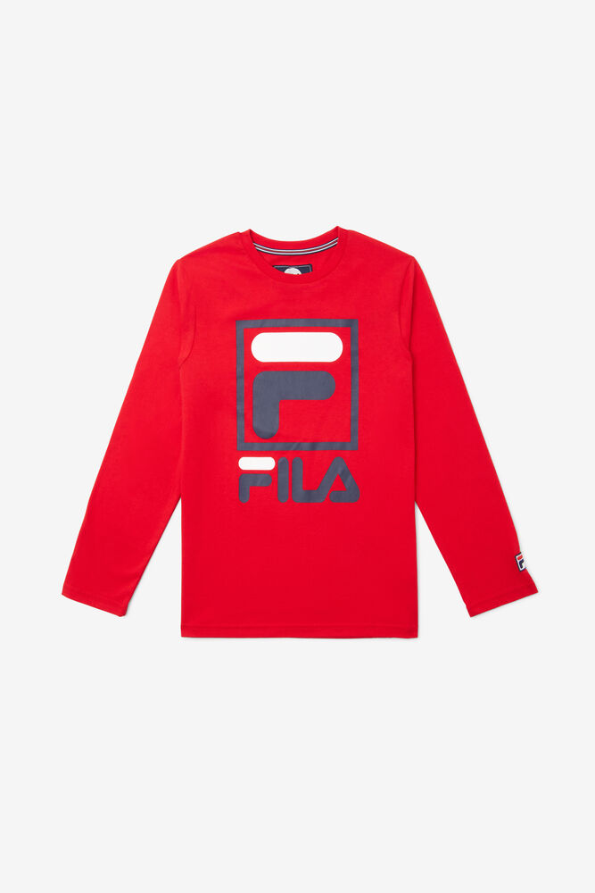 STACKED LOGO L/S TEE/RED/XL