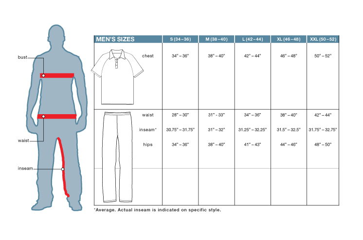 Men's sizing guide